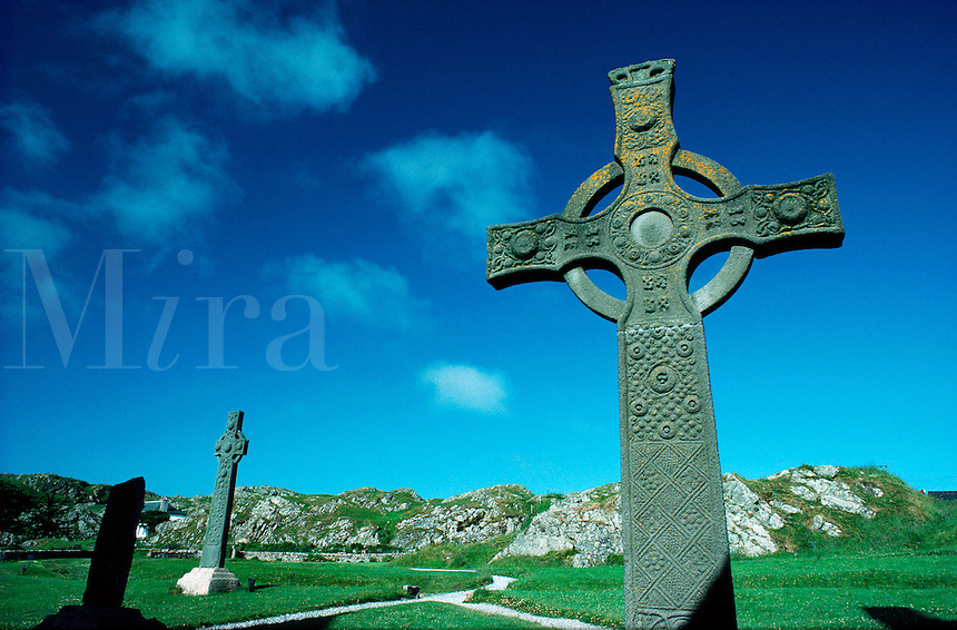Celtic crosses on the sacred isle of Iona, Inner Hebrides, western Scotland