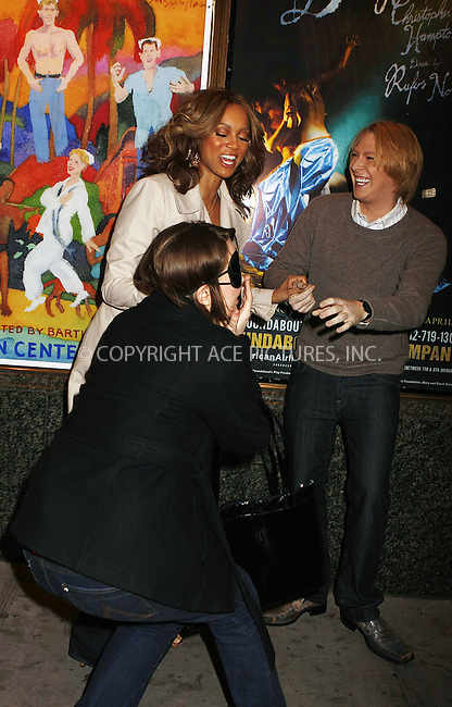 WWW.ACEPIXS.COM . . . . .  ....April 9 2008, New York City....Model Tyra Banks and singer Clay Aitken surprised a passer-by with free  tcikets to the musical 'Spamalot' near Times Square as a stunt for the 'Tyra Banks Show'....Please byline: AJ Sokalner - ACEPIXS.COM..... *** ***..Ace Pictures, Inc:  ..te: (646) 769 0430..e-mail: info@acepixs.com..web: http://www.acepixs.com