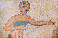 Roman mosaics of a women in bikini sports wear exercising from the Room of the Ten Bikini Girls, room no 30  at the Villa Romana del Casale which containis the richest, largest and most complex collection of Roman mosaics in the world. Constructed  in the first quarter of the 4th century AD. Sicily, Italy. A UNESCO World Heritage Site.