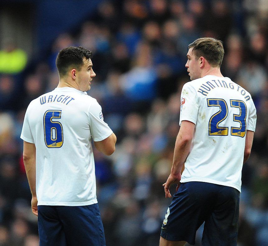 Preston North End's Bailey Wright, left, with team-mate Paul Huntington<br /> <br /> Photographer Chris Vaughan/CameraSport<br /> <br /> Football - The Football League Sky Bet Championship - Preston North End v Brentford - Saturday 23rd January 2016 -  Deepdale - Preston<br /> <br /> &copy; CameraSport - 43 Linden Ave. Countesthorpe. Leicester. England. LE8 5PG - Tel: +44 (0) 116 277 4147 - admin@camerasport.com - www.camerasport.com