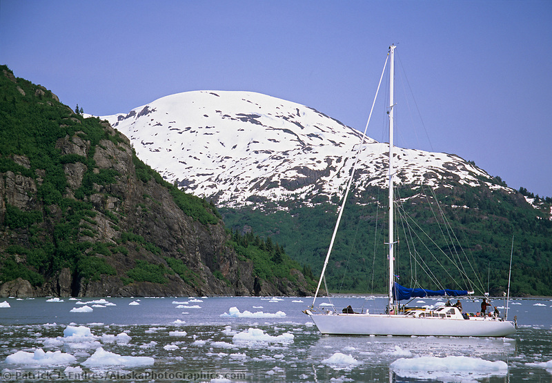 Sailboat, Nassau Fjord, Chenega glacier, Prince William Sound, Alaska.