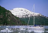 Sailboat, Nassau Fjord, Chenega glacier, Prince William Sound, Alaska.