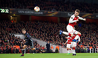 Aaron Ramsey of Arsenal scores his second goal to make it 3 1 during the UEFA Europa League QF 1st leg match between Arsenal and CSKA Moscow  at the Emirates Stadium, London, England on 5 April 2018. Photo by Andrew Aleksiejczuk / PRiME Media Images.