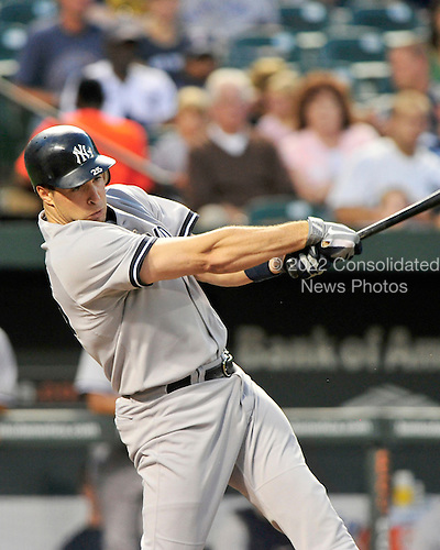 New York Yankees first baseman Mark Teixeira (25) doubles against the Baltimore Orioles in the first inning at Oriole Park at Camden Yards in Baltimore, Maryland in the second game of a doubleheader on Sunday, August 28, 2011.  .Credit: Ron Sachs / CNP.(RESTRICTION: NO New York or New Jersey Newspapers or newspapers within a 75 mile radius of New York City)