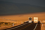 Trucks traveling between Las Vegas and Reno over US 95 in central Nevada