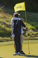Kevin Kisner (USA) hugs his caddie on the green on 16 after winning the 2019 WGC Dell Match Play, at the Austin Country Club, Austin, Texas, USA. 3/31/2019.<br /> Picture: Golffile | Ken Murray<br /> <br /> <br /> All photo usage must carry mandatory copyright credit (&copy; Golffile | Ken Murray)
