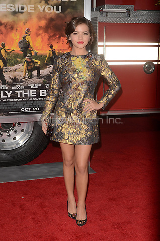 WESTWARD, CA - OCTOBER 8: Isabela Moner at the Only The Brave World Premiere at the Village Theater in Westwood, California on October 8, 2017. Credit: David Edwards/MediaPunch