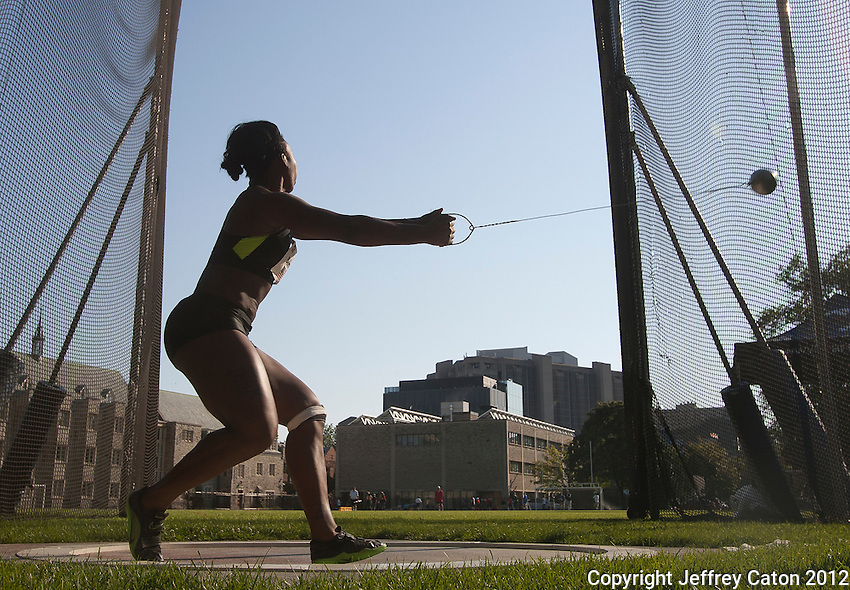 11/07/12 6:12:03 PM Gwen Berry of the United States of America competes in the Women's hammer throw at the 2012 Toronto International Track and Field Games---Toronto, ON, Canada:  Sports Action.  Photo by Jeffrey Caton