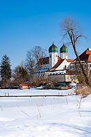 Germany, Bavaria, Chiemgau, Seeon: Monastery Seeon - former Benedictine monastery - at Monastery Lake | Deutschland, Bayern, Chiemgau, Seeon: Kloster Seeon - ehemaliges Benediktinerkloster am Klostersee