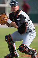 April 28 2009: Michael Ambort of the San Jose Giants before game against the Lancaster JetHawks at Clear Channel Stadium in Lancaster,CA.  Photo by Larry Goren/Four Seam Images