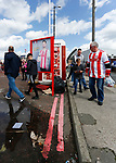 Sunderland fans arrive at the ground past an advert for this seasons kit. Sunderland 2 Portsmouth 1, 17/08/2019. Stadium of Light, League One. Photo by Paul Thompson.