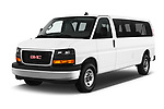 2018 GMC Savana-Passenger 3500-LS-Ext 5 Door Passenger Van Angular Front stock photos of front three quarter view