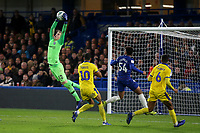 Chelsea goalkeeper, Jamie Cumming, makes a fine save during Chelsea Under-21 vs AFC Wimbledon, Checkatrade Trophy Football at Stamford Bridge on 4th December 2018