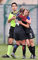 Monfalcone, Italy, April 26, 2016.<br /> USA's #14 Wingate and #7 Godfrey celebrating the goal of 5-0 during USA v Iran football match at Gradisca Tournament of Nations (women's tournament). Monfalcone's stadium.<br /> © ph Simone Ferraro / Isiphotos