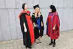23/10/2015  Pictured at the recent Mary Immaculate College conferring ceremonies were (centre) Saoirse Kennedy, Bunratty, Co. Clare, who graduated with a MA in Music Education, with Ailbhe Kenny and Gwen Moore, Mary Immaculate College Music Education Lecturers. 625 students from 20 counties and 3 continents were conferred with academic awards across the College&rsquo;s 27 programmes including the College&rsquo;s 100th PhD award.<br /> Pic: Gareth Williams / Press 22<br /> <br /> <br /> Press Release: 23rd October 2015Education is a movement of formation that enables the individual to play their role in transforming society for the common good.100th PhD Graduate Conferred at Mary Immaculate CollegeEducation is a movement of formation that enables the individual to play their role in transforming society for the common good according to Prof. Michael A Hayes, President of Mary Immaculate College, who was speaking at the College&rsquo;s conferring ceremonies today Friday 23rd October. The quality of advanced scholarship at Mary Immaculate College was evident on the day as the 100th PhD graduate was conferred along with close on 650 students from 20 counties and 3 continents all of whom graduated with academic awards across the College&rsquo;s 27 programmes. Congratulating all those graduating the President said &ldquo;These ceremonies mark the high point of the College&rsquo;s year as we acknowledge the achievement of our students. The ceremonies this year are particularly special as we mark the conferring of our 100th PhD Graduate &ndash; this is a very proud achievement for us as a College and I want to congratulate those who have received these doctorates and my colleagues who supervised their work&rdquo;. Not only were students conferred with awards on undergraduate, diploma, graduate diploma and master programmes but this year marked the first graduation of students from the Certificate in General Learning &amp; Personal Development, a programme  for people with intellectual disabilities.&ldquo;Working with students with intel