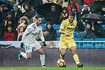 Rodrigo Hernandez Cascante, Rodri (R), of Villarreal CF is tackled by Isco Alarcon of Real Madrid during the La Liga 2017-18 match between Real Madrid and Villarreal CF at Santiago Bernabeu Stadium on January 13 2018 in Madrid, Spain. Photo by Diego Gonzalez / Power Sport Images