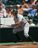 Baylor LF Ben Booker leaves the batters box against Texas on May 3rd, 2008. Photo by Andrew Woolley / Four Seam Images.