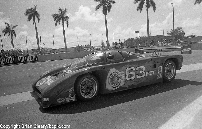 #63 Argo JM19 107/Mazda of Jim Downing and John Mafucci in action at the IMSA Grand-Prix of Palm Beach, West Palm Beach, FL, June 21, 1987.  (Photo by Brian Cleary/www.bcpix.com)