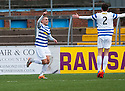 Morton's Joseph McKee (left) celebrates scoring their first goal.