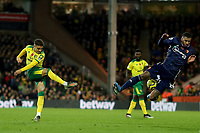 8th November 2019; Carrow Road, Norwich, Norfolk, England, English Premier League Football, Norwich versus Watford; Max Aaron of Norwich City shot is blocked by Etienne Capoue of Watford - Strictly Editorial Use Only. No use with unauthorized audio, video, data, fixture lists, club/league logos or 'live' services. Online in-match use limited to 120 images, no video emulation. No use in betting, games or single club/league/player publications