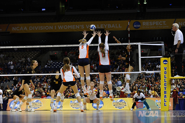 15 DEC 2011:  Alex Jupiter (07) of USC spikes the ball during the semi-finals of the Division I Women's Volleyball Championship held at the Alamodome in San Antonio, TX. Illinois defeated USC 3-2. Joshua Duplechian/NCAA Photos