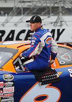Apr 16, 2009; Avondale, AZ, USA; NASCAR Camping World Series West driver Jason Bowles prior to the Jimmie Johnson Foundation 150 at Phoenix International Raceway. Mandatory Credit: Mark J. Rebilas-