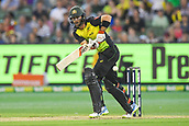 10th February 2018, Melbourne Cricket Ground, Melbourne, Australia; International Twenty20 Cricket, Australia versus England;  Glenn Maxwell of Australia watches the ball sail through the leg side
