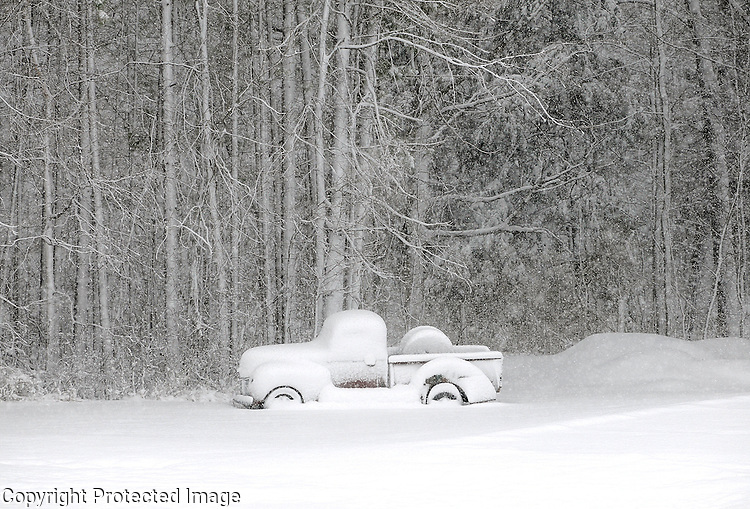 An antique pickup truck is buried in snow along the edge of the woods on School Road in Suamico on April 8, 2010.