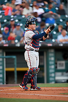 Gwinnett Braves catcher Kade Scivicque (46) goes through the defensive signs during a game against the Buffalo Bisons on August 19, 2017 at Coca-Cola Field in Buffalo, New York.  Gwinnett defeated Buffalo 1-0.  (Mike Janes/Four Seam Images)