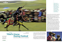 4 page article - The famous Tibet horse racing festival article published first  by Asian geographic Magazine and now available for syndication.