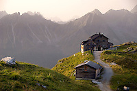 Neustift im Stubaital, Stubaier Hohenweg, Tirol, Austria, September 2008.  Early morning departure from the Starkenburger hutte. Hiking the Stubai High Trail from hut to hut in the southern Alps, we clear a mountain pass on a daily basis. Photo by Frits Meyst/Adventure4ever.com.