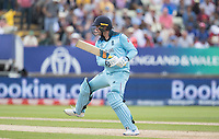 Jason Roy (England) plays an unorthodox but effective pull for four runs through mid wicket during Australia vs England, ICC World Cup Semi-Final Cricket at Edgbaston Stadium on 11th July 2019
