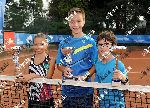 2014-09-07 / Tennis / seizoen 2014 / Feest van de jeugd / Sofie Costoulos, Noah Martens en Gilles-Arnaud Bailly (r.)<br /><br />Foto: Mpics.be