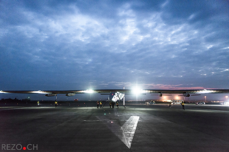 Chongqing, China, April 21, 2015: Solar Impusle 2 takes-off from Chongqing to Nanjing (China) with Bertrand Piccard at the controls. The First Round-the-World Solar Flight will take 500 flight hours and cover 35'000 km, over five months. Swiss founders and pilots, Bertrand Piccard and André Borschberg hope to demonstrate how pioneering spirit, innovation and clean technologies can change the world. The duo will take turns flying Solar Impulse 2, changing at each stop and will fly over the Arabian Sea, to India, to Myanmar, to China, across the Pacific Ocean, to the United States, over the Atlantic Ocean to Southern Europe or Northern Africa before finishing the journey by returning to the initial departure point. Landings will be made every few days to switch pilots and organize public events for governments, schools and universities.