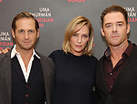 Josh Lucas, Uma Thurman and Marton Csoka attends the Meet & Greet Photo Call for the cast of Broadways 'The Parisian Woman' at the New 42nd Street Studios on October 18, 2017 in New York City.