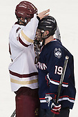 Scott Savage (BC - 2), Evan Richardson (UConn - 19) - The Boston College Eagles defeated the visiting UConn Huskies 2-1 on Tuesday, January 24, 2017, at Kelley Rink in Conte Forum in Chestnut Hill, Massachusetts.