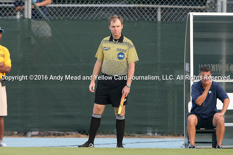 28 August 2016: Assistant Referee Jude Carr. The University of North Carolina Tar Heels hosted the Saint Louis University Billikens at Fetter Field in Chapel Hill, North Carolina in a 2016 NCAA Division I Men's Soccer match. UNC won the game 3-0.