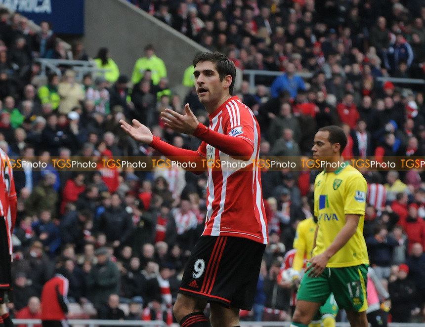 Sunderland's Danny Graham tries to lift the crowd after Norwich City goalkeeper Mark Bunn is sent off - Sunderland vs Norwich City - Barclays Premier League Football at The Stadium of Light, Sunderland, Tyne & Wear - 17/03/13 - MANDATORY CREDIT: Steven White/TGSPHOTO - Self billing applies where appropriate - 0845 094 6026 - contact@tgsphoto.co.uk - NO UNPAID USE.