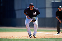 New York Yankees Miguel Flames (68) during a Minor League Spring Training game against the Detroit Tigers on March 21, 2018 at the New York Yankees Minor League Complex in Tampa, Florida.  (Mike Janes/Four Seam Images)