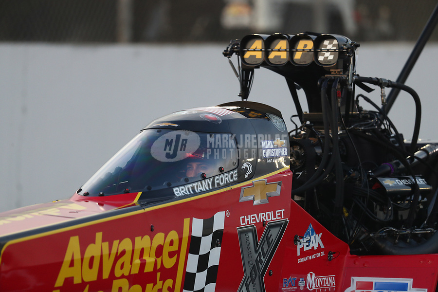 Nov 15, 2019; Pomona, CA, USA; NHRA top fuel driver Brittany Force during qualifying for the Auto Club Finals at Auto Club Raceway at Pomona. Mandatory Credit: Mark J. Rebilas-USA TODAY Sports