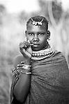 A Turkana woman in a traditional village near Kakuma, Northern Kenya.