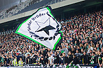 Stockholm 2014-03-04 Fotboll Svenska Cupen Hammarby IF - &Auml;ngelholms FF :  <br /> Hammarby supportrar med en flagga med texten &quot;S&ouml;der Br&ouml;der&quot;<br /> (Foto: Kenta J&ouml;nsson) Nyckelord:  HIF Bajen &Auml;ngelholm supporter fans publik supporters
