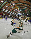 19 January 2018: University of Vermont Catamount Defenseman Matt O'Donnell, a Sophomore from Fountain Valley, CA, handles the puck in his corner during first period play against the University of Massachusetts Lowell Riverhawks at Gutterson Fieldhouse in Burlington, Vermont. The Riverhawks rallied to defeat the Catamounts 3-2 in overtime of their Hockey East matchup. Mandatory Credit: Ed Wolfstein Photo *** RAW (NEF) Image File Available ***