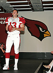 The Arizona Cardinals today unveiled their new uniforms for the 2005/2006 season.  Here quarterback Kurt Warner walks the runway.