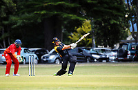 Lauchie Johns on his way to his century during the Under-19 World Cup warm-up cricket match between Wellington XI and Zimbabwe Under-19s at the Scots College in Wellington, New Zealand on Sunday, 31 December 2017. Photo: Dave Lintott / lintottphoto.co.nz