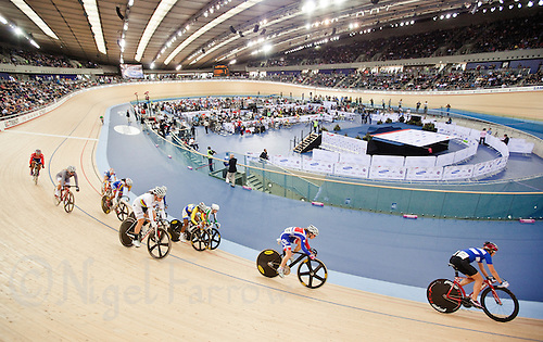 18 FEB 2012 - LONDON, GBR - Competitors attempt to qualify for the Women's Omnium during the UCI Track Cycling World Cup, and London Prepares test event for the 2012 Olympic Games, at the Olympic Park Velodrome in Stratford, London, Great Britain .(PHOTO (C) 2012 NIGEL FARROW)