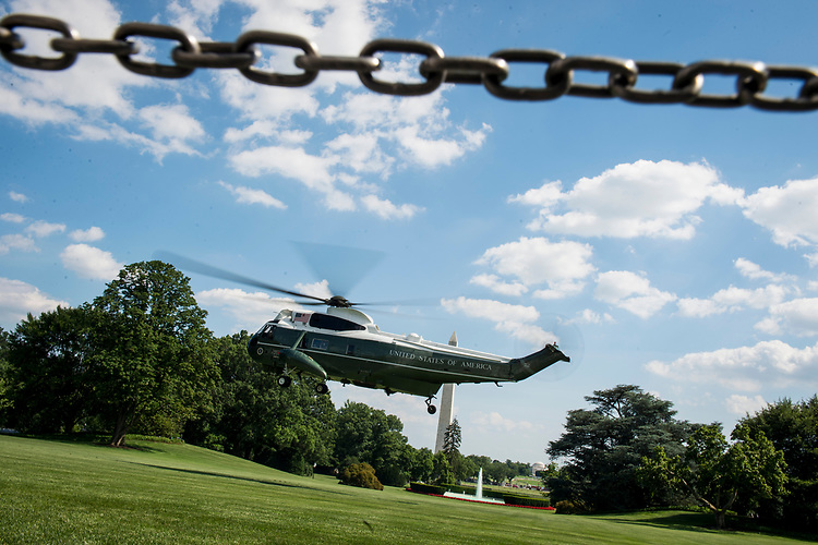 UNITED STATES – June 29: President Donald Trump, First Lady Melania Trump as well as Amalija Knavs, Barron Trump, Ivanka Trump, Theodore Kushner and Jared Kushner depart towards Joint Base Andrews on Marine One Friday June 29, 2018.  (Photo By Sarah Silbiger/CQ Roll Call)