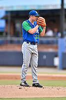 Lexington Legends starting pitcher Nolan Watson (23) looks in for the signals during a game against the Asheville Tourists at McCormick Field on May 25, 2018 in Asheville, North Carolina. The Tourists defeated the Legends 6-4. (Tony Farlow/Four Seam Images)