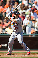 12 April 2008: #21 Jason LaRue of the Cardinals is seen at bat during the St. Louis Cardinals 8-7 victory over the San Francisco Giants at the AT&T Park in San Francisco, CA.