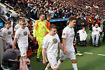 17.03.2019, BayArena, Leverkusen, GER, 1. FBL, Bayer 04 Leverkusen vs. SV Werder Bremen,<br />  <br /> DFL regulations prohibit any use of photographs as image sequences and/or quasi-video<br /> <br /> im Bild / picture shows: <br /> Einlauf Bremer mit Einlaufkindern Max Kruse (Werder Bremen #10), Jiri Pavlenka Torwart (Werder Bremen #1), <br /> <br /> Foto © nordphoto / Meuter